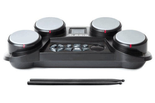 Alesis CompactKit 4 – Tabletop Electric Drum Set with 70 Electronic / Acoustic Drum Kit Sounds, 4 Pads, Battery or AC-Power and Drum Sticks Included